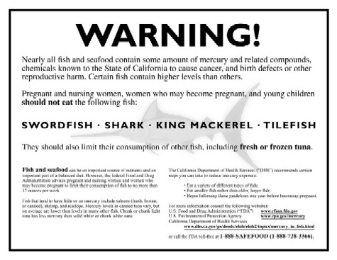 Warning label, compliant with California's Proposition 65, that warns about mercury levels in various types of fish