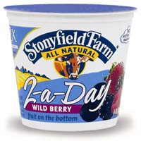 "While the dairy industry has been promoting ""three a day,"" Stonyfield Farm upped the calcium in its yogurt so it only takes ""2-a-Day"" to get the bone-health nutrient."