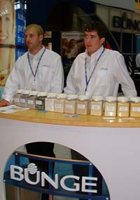 Between its oils and milling divisions, Bunge North America had plenty of sample jars lined up in its IFT display.