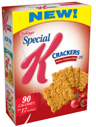 Special K's first savory snack, Special K Crackers, provides the solution to afternoon munchies.