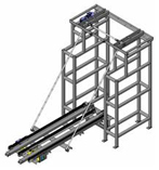 The unique Drawbridge Conveyor enables a conveyor line to cross an automated storage and retrieval system crane aisle.
