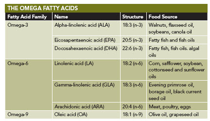 Omega Fatty Acids Chart