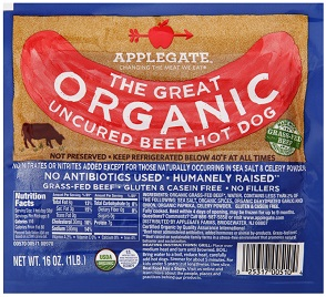 Applegate Organic hot dogs